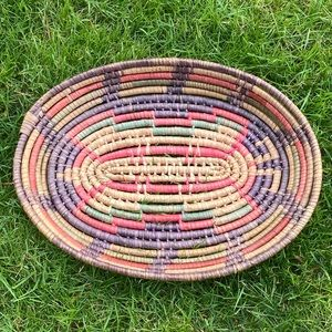 Vintage Oval Coil Woven Basket or Wall Art